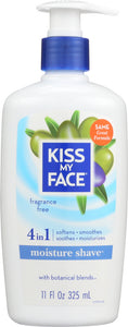 KISS MY FACE: Moisture Shave Fragrance Free, 11 oz