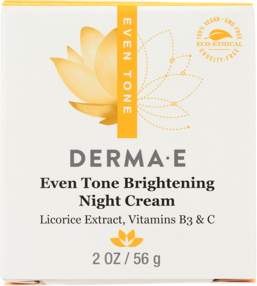 DERMA E: Evenly Radiant Brightening Night Cream with Vitamin C, 2 oz