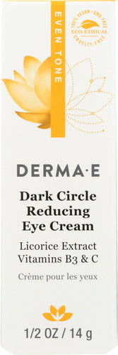 DERMA E: Evenly Radiant Dark Circle Eye Crème, 0.5 oz