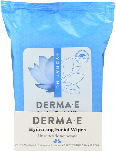 DERMA E: Hydrating Facial Wipes, 25 Count