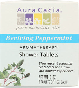 AURA CACIA: Aromatherapy Shower Tablets Reviving Peppermint 3 tablets (1 oz each), 3 oz - One Body Beauty