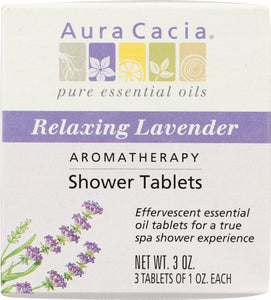 AURA CACIA: Aromatherapy Shower Tablets Relaxing Lavender 3 tablets (1 oz each), 3 oz - One Body Beauty