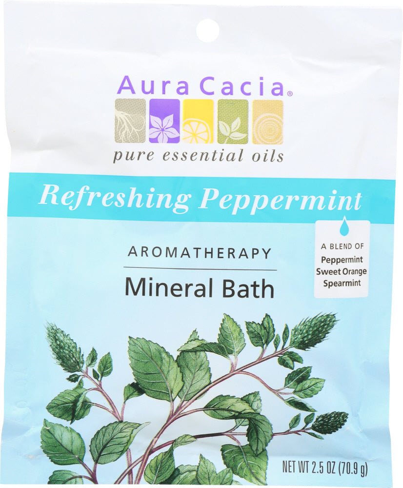 AURA CACIA:  Aromatherapy Mineral Bath Refreshing Peppermint , 2.5 Oz - One Body Beauty