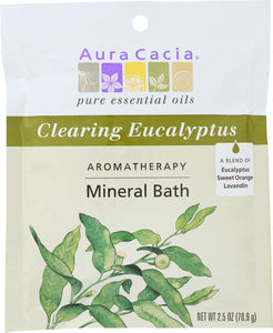 AURA CACIA: Aromatherapy Mineral Bath Clearing Eucalyptus, 2.5 Oz - One Body Beauty