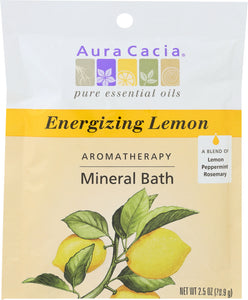 AURA CACIA: Aromatherapy Mineral Bath Energizing Lemon, 2.5 Oz - One Body Beauty