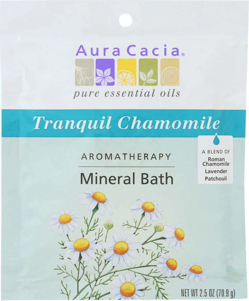 AURA CACIA: Aromatherapy Mineral Bath Tranquil Chamomile, 2.5 Oz - One Body Beauty