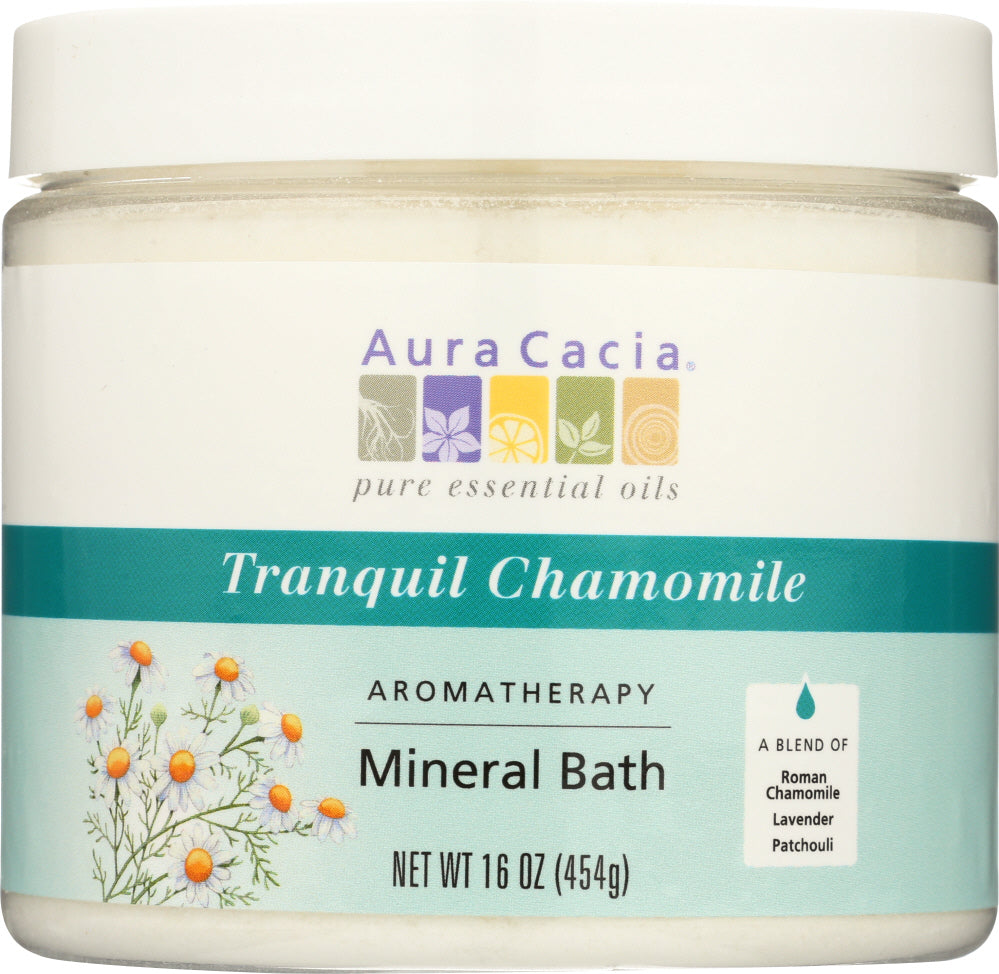 AURA CACIA: Aromatherapy Mineral Bath Tranquil Chamomile, 16 Oz - One Body Beauty