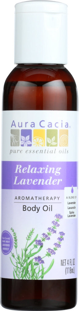 AURA CACIA: Aromatherapy Body Oil Relaxing Lavender, 4 oz - One Body Beauty