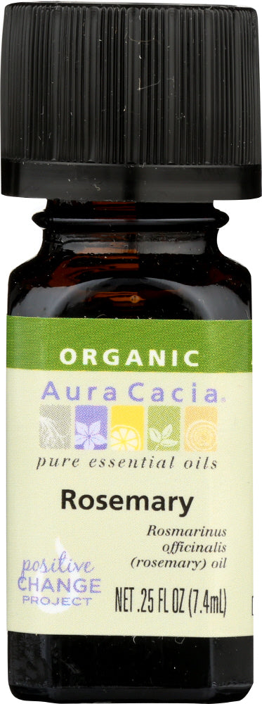 AURA CACIA: Organic Rosemary Essential Oil, 0.25 oz