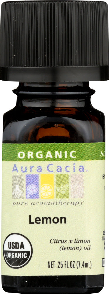 AURA CACIA: Organic Lemon Essential Oil, 0.25 oz
