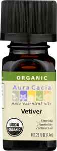 AURA CACIA: Organic Vetiver Essential Oil, 0.25 oz
