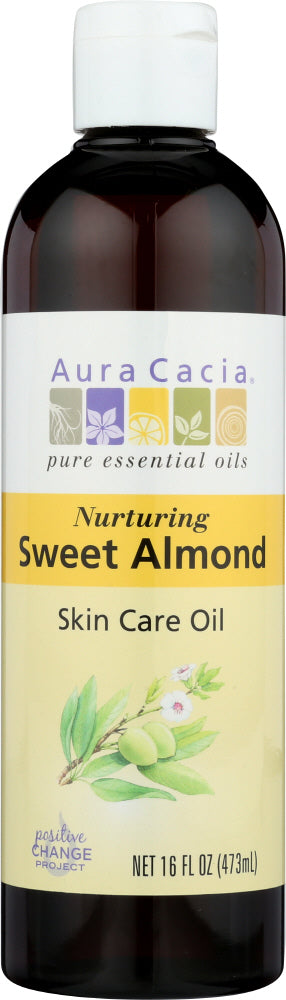 AURA CACIA: Natural Skin Care Oil with Vitamin E Nurturing Sweet Almond, 16 Oz - One Body Beauty