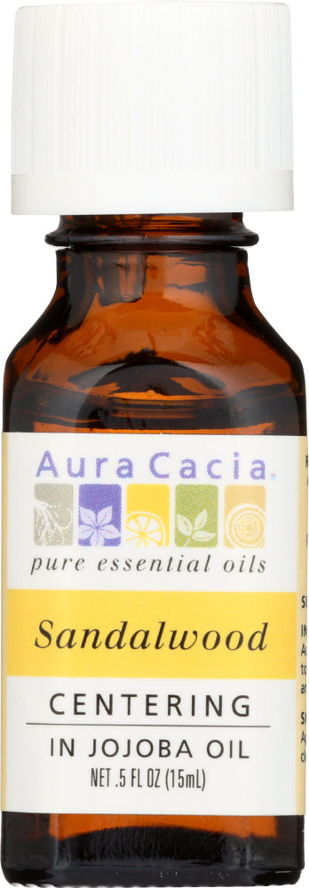 AURA CACIA: Sandalwood in Jojoba Oil, 0.5 oz