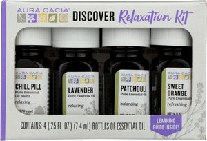 AURA CACIA: Essensial Oil Relaxation Kit Pack of 4, 0.25 oz - One Body Beauty