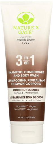 NATURES GATE: 3 in 1 Coconut Shampoo Conditioner Body Wash, 8 oz