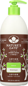 NATURES GATE: Moisturizing Herbal Lotion, 18 oz