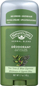 NATURES GATE: Herbal Blend Deodorant Stick Tea Tree & Blue Cypress, 1.7 oz