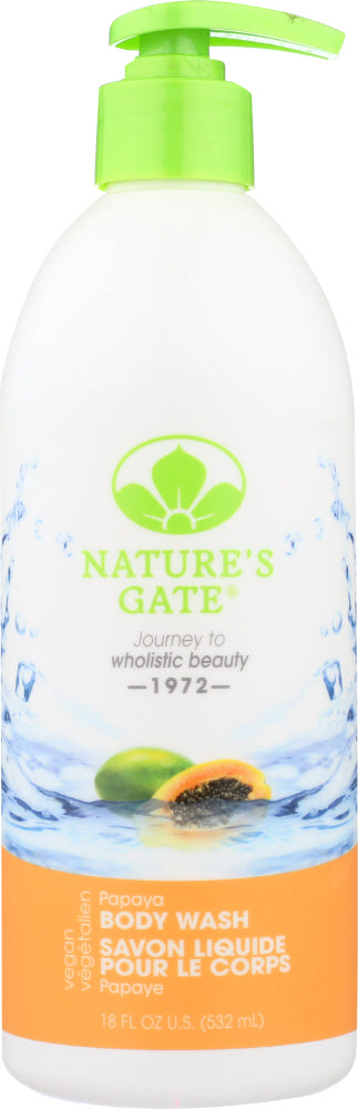 NATURES GATE: Body Wash Papaya, 18 oz