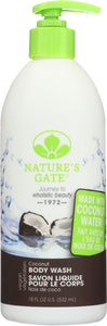 NATURES GATE: Body Wash Coconut, 18 oz