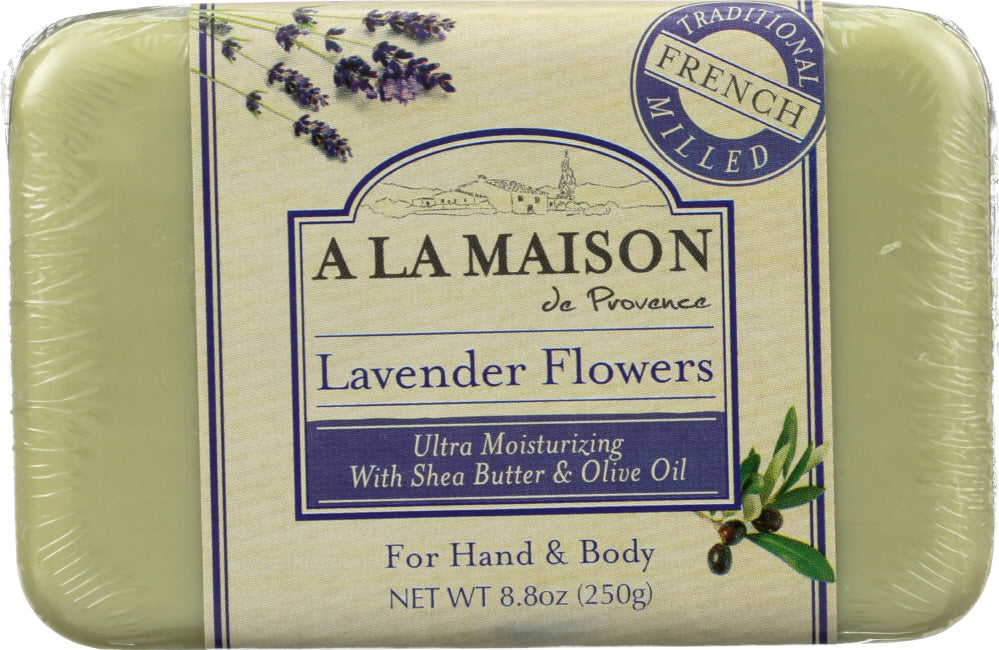 A LA MAISON DE PROVENCE: Hand & Body Bar Soap Lavender Flowers, 8.8 Oz - One Body Beauty