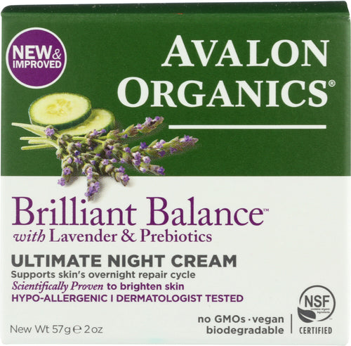 AVALON ORGANICS: Brilliant Balance with Lavender & Probiotics Ultimate Night Cream, 2 oz