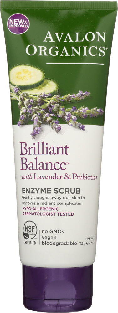 AVALON ORGANICS: Brilliant Balance with Lavender & Prebiotics, Enzyme Scrub Unscented, 4 Oz
