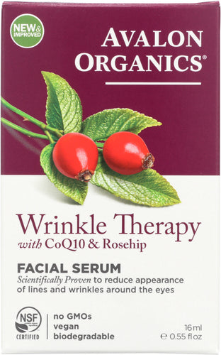 AVALON ORGANICS: Wrinkle Therapy with CoQ10 & Rosehip Facial Serum, 0.55 oz