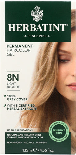 HERBATINT: Permanent Herbal Haircolor Gel 8N Light Blonde, 4 Oz
