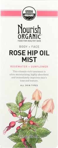 NOURISH ORGANIC: Rejuvenating Rose Hip & RoseWater Body Oil Mist, 3 oz