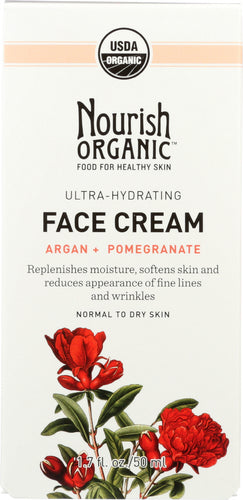 NOURISH ORGANIC: Ultra-Hydrating Face Cream Argan + Pomegranate, 1.7 oz