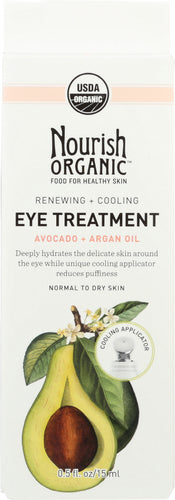 NOURISH ORGANIC: Renewing + Cooling Eye Treatment, Avocado + Argan Oil, 0.5 oz