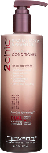 GIOVANNI COSMETICS: 2Chic Brazilian Keratin & Argan Oil Ultra Sleek Conditioner, 24 oz