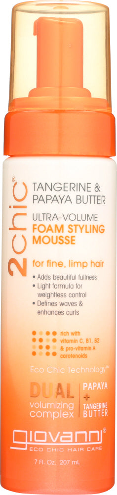 GIOVANNI COSMETICS: Ultra Volume Tangerine and Papaya Butter Foam Styling Mousse, 7 oz
