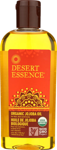 DESSERT ESSENCE: Organic Jojoba Oil for Hair Skin & Scalp, 4 Oz