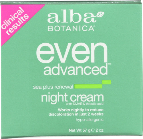 ALBA BOTANICA: Even Advanced Sea Plus Renewal Night Cream, 2 oz - One Body Beauty