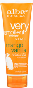 ALBA BOTANICA: Natural Very Emollient Cream Shave Mango Vanilla, 8 oz - One Body Beauty