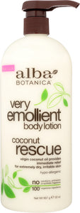 ALBA BOTANICA: Very Emollient Body Lotion Coconut Rescue, 32 oz - One Body Beauty