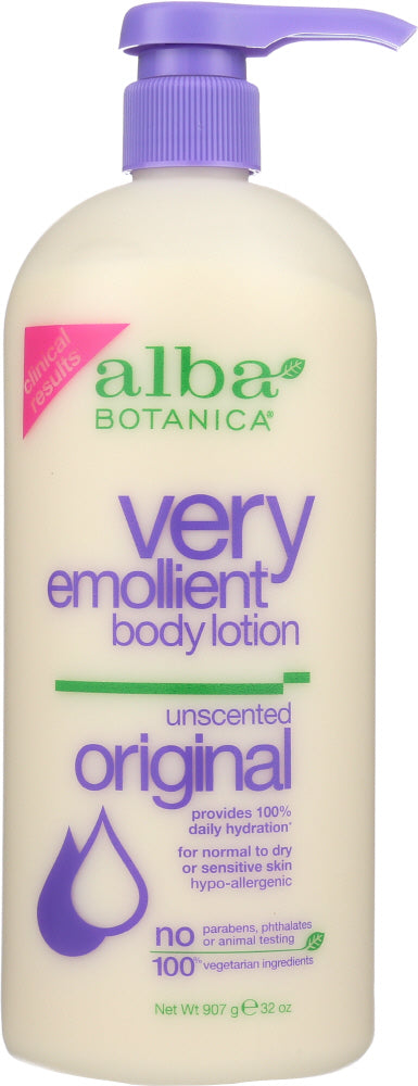 ALBA BOTANICA: Very Emollient Body Lotion Unscented Original, 32 oz - One Body Beauty