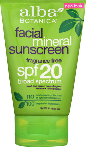 ALBA BOTANICA: Very Emollient Sunscreen Facial Mineral Protection SPF 20, 4 oz - One Body Beauty