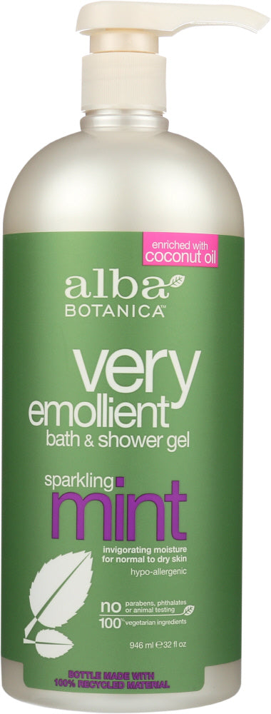 ALBA BOTANICA: Very Emollient Bath & Shower Gel Sparkling Mint, 32 oz - One Body Beauty