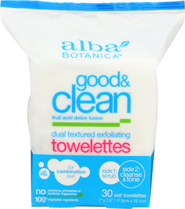 ALBA BOTANICA: Good & Clean Dual Textured Exfoliating Towelettes, 30 Wet Towelettes - One Body Beauty