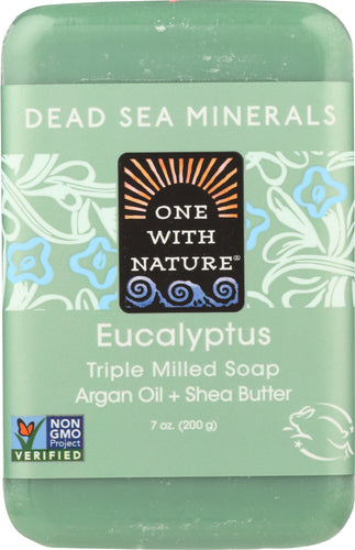 ONE WITH NATURE: Triple Milled Soap Bar Eucalyptus Argan Oil + Shea Butter, 7 oz