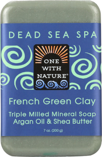 ONE WITH NATURE: French Green Clay Triple Milled Mineral Bar Soap Argan Oil & Shea Butter, 7 oz