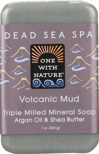 ONE WITH NATURE: Volcanic Mud Triple Milled Mineral Bar Soap Argan Oil & Shea Butter, 7 oz