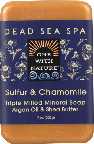 ONE WITH NATURE: Sulfur & Chamomile Triple Milled Mineral Soap Sulfur & Chamomile, 7 oz