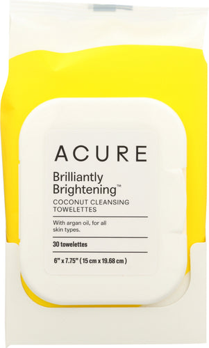 ACURE: Brilliantly Brightening Coconut Cleansing Towelettes, 30 Towelettes - One Body Beauty