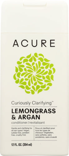 ACURE: Curiously Clarifying Conditioner Lemongrass & Argan, 12 fl oz - One Body Beauty