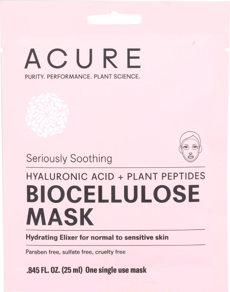 ACURE: Seriously Soothing Biocellulose Facial Gel Mask, 1 ea - One Body Beauty