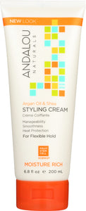 ANDALOU NATURALS: Argan Oil & Shea Styling Cream, 6.8 oz - One Body Beauty