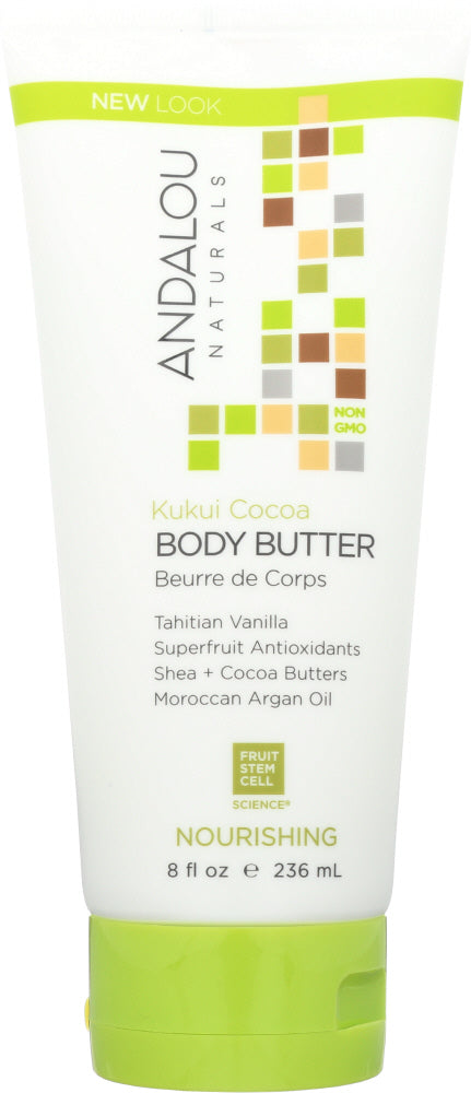 ANDALOU NATURALS: Nourishing Body Butter Kukui Cocoa, 8 Oz - One Body Beauty